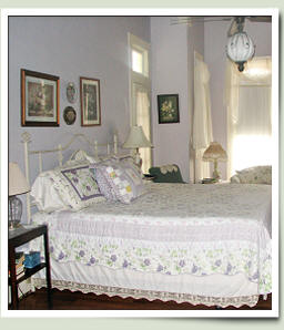 Lavender Room at Village Street Bed and Breakfast in Woodville, Texas.